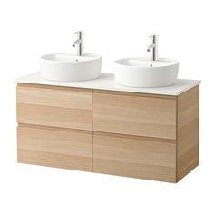 GODMORGON/ALDERN / TÖRNVIKEN Servantskap m benkeplate 45 servant - hvit, hvitbeiset eikemønster - IKEA
