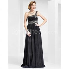 [USD $ 149.99] Sheath/Column One Shoulder Floor-length Stretch Satin Evening Dress