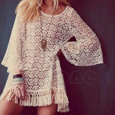 Women-Lady-Hippie-Boho-Bell-Sleeve-Gypsy-Sexy-Lace-mini-Dress-Festival-Fringe