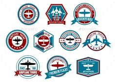 Aviation labels or badges in retro style #jpg #image #logo #set • Available here → https://graphicriver.net/item/aviation-labels-or-badges-in-retro-style/10520772?ref=pxcr