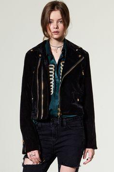 Zoe Velvet Suede Rider Jacket Discover the latest fashion trends online at storets.com #Velvet Oversized Top #beaux bows #Velvet Peplum Skirt