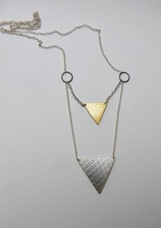 double triangle drop long necklace by LillyOJewellery on Etsy, €70.00