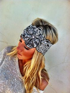 Mrs. I Do Lace Wide Lace Headband Black and Silver Bridal Wedding Head band Rosette and Pearls