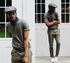 Get this look: http://lb.nu/look/7598472  More looks by Andy Jackson: http://lb.nu/andyismyname  Items in this look:  John Ruvin Specs, J.Crew Indigo Bandana, Uniqlo Olive T Shirt, Asos Olive Drab Trousers, Call It Spring White Slip Ons   #dapper #menswear #vintage