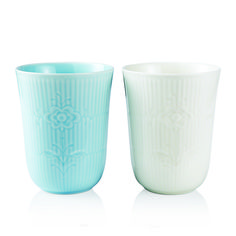 Flower Emblem - Mug 2-pack - Ivory & Blue