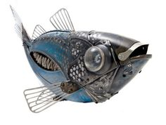 Edouard Martinets recycled metal #sculptures #Fish #steampunk