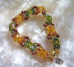 Autumn Crystal and Pearl Bracelet by krantwist on Etsy, $34.99