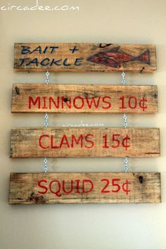 Bait & Tackle fish sign.  Like the look of the wood.