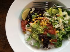 Veggie Burrito Bowl + several other simple meals Entree Recipes, Veggie Recipes, Mexican Food Recipes, Vegetarian Recipes, Dinner Recipes, Mexican Dinners, Easy Recipes, Quick Family Dinners, Simple Meals