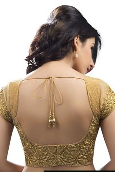 #Gold raw silk & net #designer wear #blouse with cap sleeves -BL555