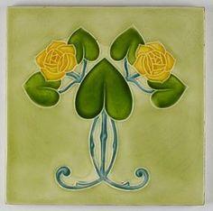 Antique Simpson Art Nouveau Glasgow rose tile c.1905