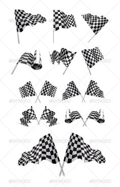 Checkered Flags Set — AI Illustrator #object #check • Available here → https://graphicriver.net/item/checkered-flags-set/2952473?ref=pxcr