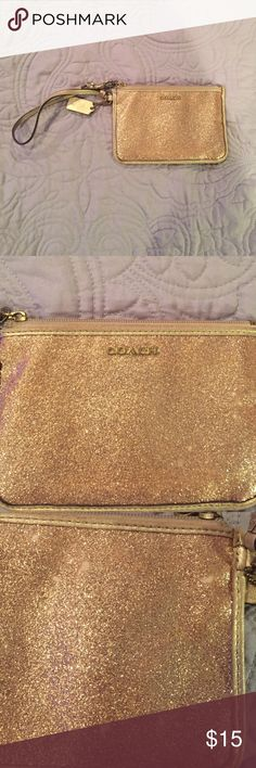 Coach Wristlet Used, some knicks in the glitter shown in third picture but it is not very noticeable to other people Coach Bags Clutches & Wristlets