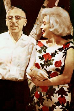 "Marilyn Monroe and George Cukor on the set of ""Something's Got To Give"", 1962. The film became a struggle partly because Cukor had just directed Marilyn in 'Lets Make Love' that was full of delays and a mild success. Footage existing shows  Cukor yelling angrily at the child actors and unnecessary abusive  takes with an overheated dog. Can't blame it all on Marilyn!"