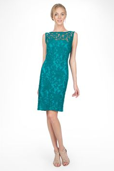 @Yuri @Megan Corinne (katrina) thoughts?? IF we could get a deal on these    | Embroidered Lace Boatneck Sheath Dress in Aqua - Cocktail Dresses - Evening Shop | Tadashi Shoji