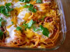 Southwestern Baked Spaghetti - A good switch on the traditional baked spaghetti with southwestern seasonings and ingredients. (I think that I would throw  some chorizo in with the ground beef.)