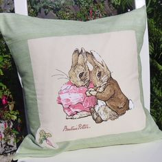 Peter Rabbit nursery pillow cover 16 inch, baby bunny natural green Beatrix Potter