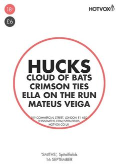 Hot Vox brings Hucks, the Crimson Ties, Ella On The Run & Mateus Veiga to 'SMITHS' Bar