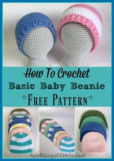 Adding appliques, pom-poms, buttons, etc., to this basic baby beanie will give it a fun personal touch! Endless possibilities! #freecrochetpattern #crochetbabyhat