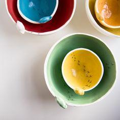 small white and yellow TWEET BOWL, ceramic bowl, spring kitchen and home decor, modern minimalist pottery handmade in Ireland - karo art