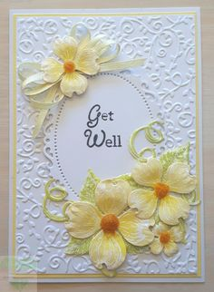 Get Well card in lemon yellow and white. Heartfelt creations stamps and dies, embossed and watercoloured.