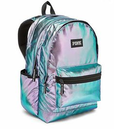 Victoria's Secret PINK Campus Backpack Iridescent Foil Hologram Zipper Vs Pink Backpack, Backpack For Teens, Mini Backpack, Victoria Secrets, Victoria Secret Pink, Mochila Victoria Secret, Victoria Secret Backpack, Cute Backpacks For School, Teen Backpacks