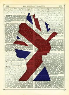 Jubilee Queen with Union Jack Flag Dictionary Art Print Vintage Upcycled Book Page Poster. $15.00, via Etsy.