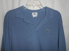 LACOSTE Men Size 6 =U.S. L Large Polo Shirt Long Sleeve Blue with Logo #Lacoste #PoloRugby