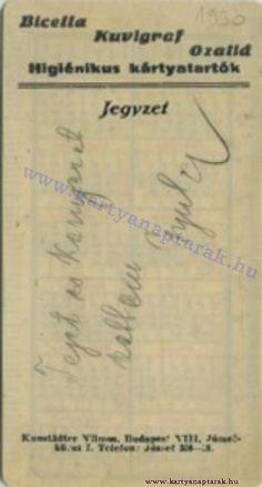 1930 - 1930_0006 - Régi magyar kártyanaptárak