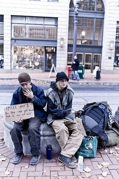 Homeless youth on the streets of downtown Portland, Oregon
