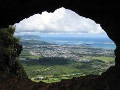 Pali Puka looking out to Windward Oahu, Hawaii.
