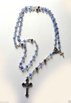 Genuine Light Blue Swarovski Crystal Boys Baptism/1st Communion Silver Rosary