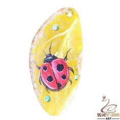 Pendant Hand Painted Ladybug Natural Gemstone bag Accessory ZL803394 #ZL #Pendant