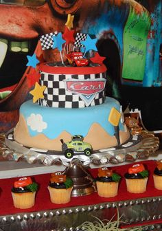 Disney Cars birthday party cake! See more party planning ideas at CatchMyParty.com!