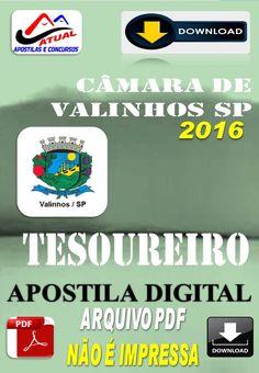 Apostila Digital Concurso Camara de Valinhos SP Tesoureiro 2016