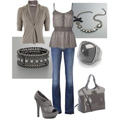 Gray polka dot cami from Tilly's $20! Matching cardigan and patent tote. Necklace from Kohl's
