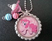 My Little Pony-----Pinkie Pie2------BOTTLE CAP NECKLACE--Goody Bag--Party Favor--Birthday