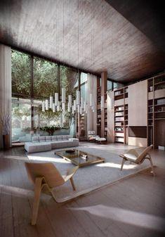 Des chaises design avec des luminaires suspendus