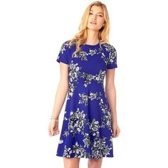 Women's Indication Floral Print Fit & Flare Dress ($45) ❤ liked on Polyvore featuring dresses, brt purple, purple floral dress, floral fit and flare dress, blue floral dress, short-sleeve dresses and blue print dress