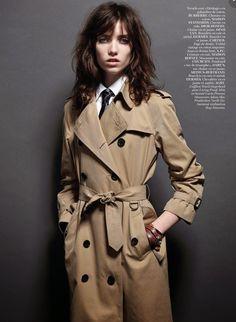 Grace Hartzel by Mario Sorrenti for Vogue Paris December 2014 #trench