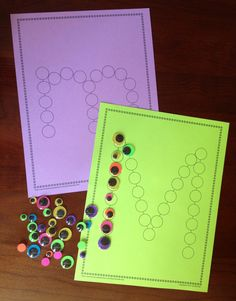 M is for Monster - letter recognition activity and fine motor fun.  Great activity for a busy bag....especially if your kiddo loves Monsters Inc.