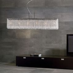 This stunning chandelier features a linear rectangular modern form with sparkling optic crystals that will transform your room instantly. The fine chrome plated frame makes the crystals. Luxury Chandelier, Luxury Lighting, Custom Lighting, Interior Lighting, Chandelier Lighting, Lighting Design, Crystal Chandeliers, Dining Room Light Fixtures, Dining Room Lighting