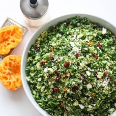 Shredded kale and Brussels sprouts tossed in an orange vinaigrette with feta, cranberries, and pecans.