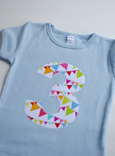 Pennant Flag birthday shirt, choose age and size.