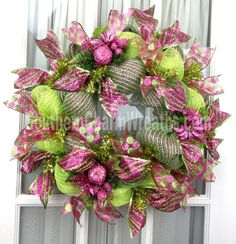 Deco Mesh Christmas Wreath Slim Screen Door Lime Green Hot Pink Holiday Decor by www.southerncharmwreaths.com