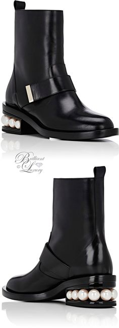 Brilliant Luxury by Emmy DE ♦Nicholas Kirkwood Pearl-Inset Moto Boots