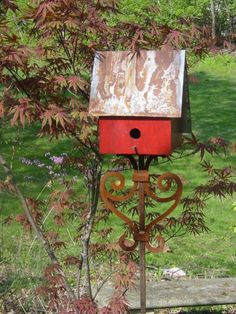 Birdhouse or Bird Feeder Stand of welded steel by InspiredGardens, $49.00