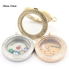 #BestPrice #Fashion Panpan 316L stainless steel double rows of crystals magnetic locket jewelry wholesale memory locket 28mm 33mm flaoting…