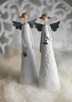 angel, decoration, white, stars, silver, elegant, harmony, christmas, winter - Engel, Dekoration, weiß, Sterne, silber, eleganz, Harmonie, Weihnachten, Winter