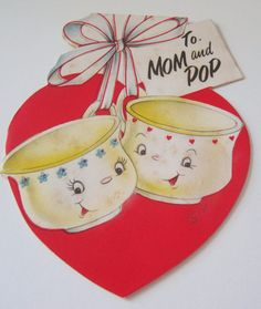 Used Vtg Valentine Card Anthropomorphic Tea Cups Coffee Cups w Hearts & Flowers Valentines Illustration, Illustration Art, Illustrations, Vintage Valentines, Be My Valentine, Vintage Images, Retro Vintage, Happy Hearts Day, Heart Day
